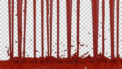 Stock Video Footage of Animated dripping and splashing blood against transparent background 8