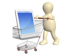 3d puppet with shopping cart and smartphone - stock photo