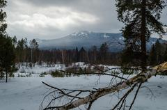 winter in the mountains of the southern urals - stock photo