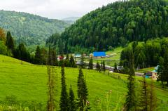 The village in the mountains of the southern urals. russia Stock Photos
