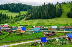 the village in the mountains of the southern urals. russia - stock photo
