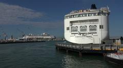 Livorno Italy Norwegian Spirit cruise ship 4K 013 Stock Footage