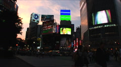 Shibuya, Tokyo. Sunset. Fashion center of Japan. Nightlife area Stock Footage