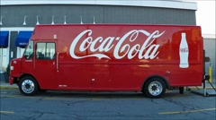 Coca Cola soft drinks delivery truck loop - stock footage
