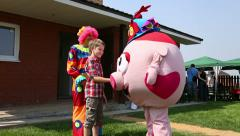Fun games, acquaintance of children with dolls Stock Footage
