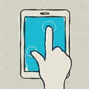 Abstract hand touching digital tablet. vector illustration, eps10 Stock Illustration