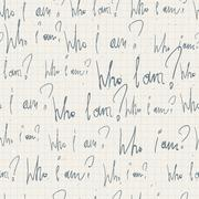 """who i am?"" seamless pattern. with notepad paper texture. vector Stock Illustration"