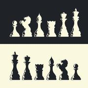 chess pieces collection. vector - stock illustration