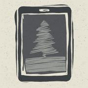 christmas tree on tablet device, vector illustration, eps10 - stock illustration