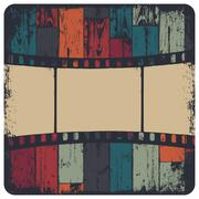 Film strip in grunge frame on colorful seamless wooden background. vector, ep Stock Illustration