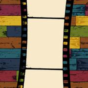 Film strip on colorful seamless wooden background. vector, eps10 Stock Illustration