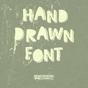 Hand drawn font with shadow. vector Stock Illustration