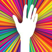 Hand silhouette on psychedelic colored abstract background. vector, eps 10 Stock Illustration