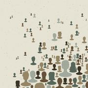 Many people silhouettes, abstract communication themed background. vector, ep Stock Illustration