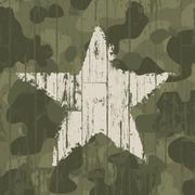 Military camouflage background with star. vector, eps10. Stock Illustration