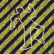 Murder silhouette on yellow hazard lines. accident prevention or crime scene  Stock Illustration