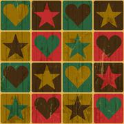 Hearts and stars, pop-art styled poster, vector Stock Illustration