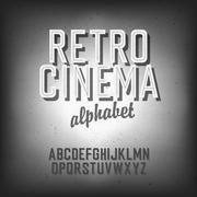 Old cinema styled alphabet. with textured background, vector, eps10 Piirros