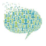 Speech bubble, composed from many people silhouettes. social network concept, Stock Illustration