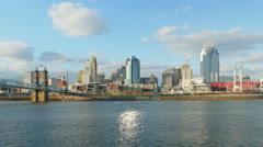 4K Cincinnati Riverfront Skyline 4 Stock Footage