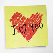 Love you words and heart symbol, painted with red lipstick on sticky yellow p Stock Illustration