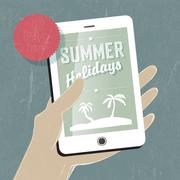 summer travel conceptual illustration. smart phone in hand. vector - stock illustration