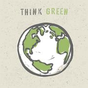 Think green poster design template. vector, eps10 Piirros