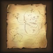Old treasure map on wood background. vector, eps10. Stock Illustration