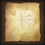 treasure map on wooden background. - stock illustration
