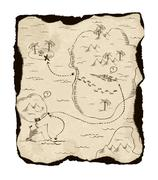 Old treasure map with burned edges. Stock Illustration