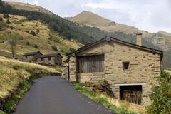 Typical houses at pyrenees mountains. andorra la vella, andorra Stock Photos