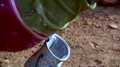 Rock Climber Dipping in Chalk Bag Stock Footage
