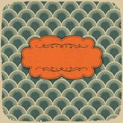 Stock Illustration of vintage scale pattern with retro label. vector, eps10