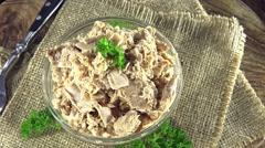 Portion of rotating tuna fish (not loopable) Stock Footage