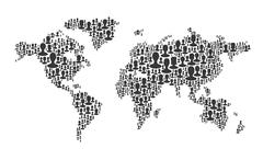 World map. composed from many people silhouettes, vector Stock Illustration