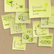 yellow sticky notes with business infographics on cork board, closeup. all el - stock illustration
