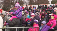 CP holiday Christmas train in Cambridge Ontario Stock Footage