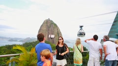 Tourists on the Sugarloaf Mountain in Rio de Janeiro, Brazil. Stock Footage