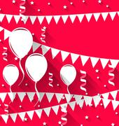 happy birthday background with balloons and hanging pennants, trendy flat sty - stock illustration