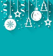 Xmas background with fir, balls, stars, streamer, trendy flat style Stock Illustration