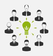 group of business people gather together, process of generating idea - stock illustration