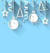 Christmas background with fir, balls, stars, streamer, trendy flat style Stock Illustration