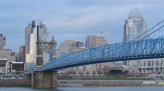 4K Cincinnati Roebling Bridge and Skyline 2 Stock Footage