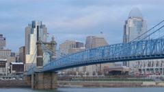 4K Cincinnati Roebling Bridge and Skyline 2 Stock Footage