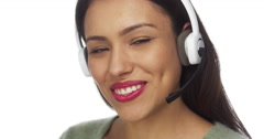 Mexican woman telemarketer smiling Stock Footage