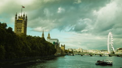Westminster and London Eye, Thames, Cloudy Stock Footage