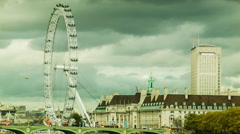 London Eye in cloudy weather Stock Footage