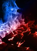 Blue and red flame - stock photo