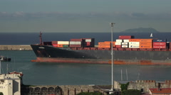 Livorno Italy port container ship tugboat pt 2 4K 009 Stock Footage