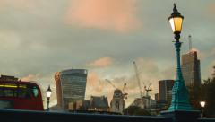 Golden hour in London from the view of the Tower Bridge Stock Footage